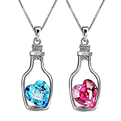 Oviya Rhodium Plated Combo of 2 Pink and Blue Crystal Heart Bottle Pendant for Women