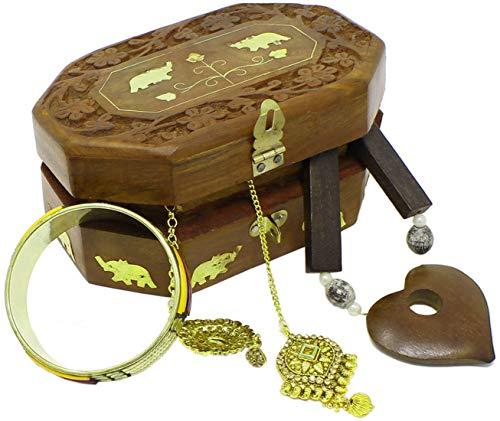 Indiens boîte à bijoux en bois faits à la main avec incrustation de laiton éléphant design