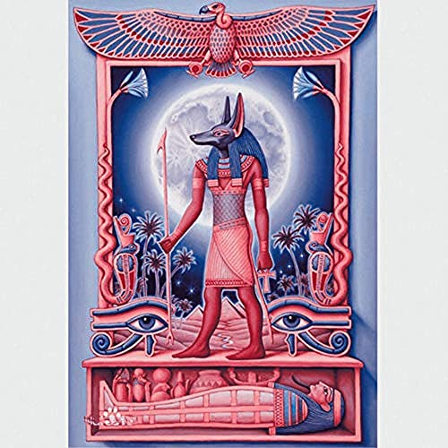 Cuadro de cuentas de punto de cruz bordado en 3D de dios egipcio 5D, 40 x 50 cm 40x50cm