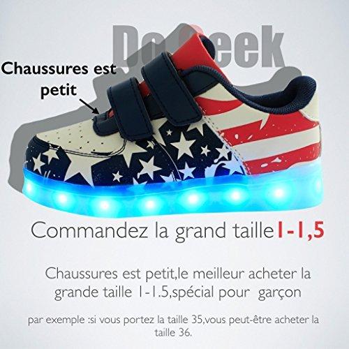 DoGeek - Chaussure Led Enfant Garçon Fille - 7 Couleurs lumineuse-Chargement USB Rouge