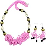 Fashionvalley Pink Jeko Moti Antique Necklace and Earrings for Girls and Women