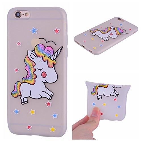 Cover iPhone 6S, Voguecase Custodia Silicone Morbido Flessibile TPU Custodia Case Cover Protettivo Skin Caso Per Apple iPhone 6/6S 4.7(Rainbow Unicorn-Blu) Con Stilo Penna Rainbow Unicorn-Biacno