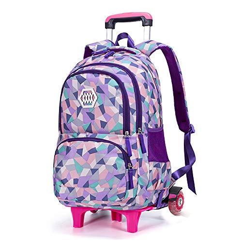 Mit Rädern Student Schultasche Rucksack Mädchen Trolley 12-18 Jahre alt Jugend Frauen wasserdicht College Middle School Student Rucksack rosa Schultasche BAACD-purple-2wheels -