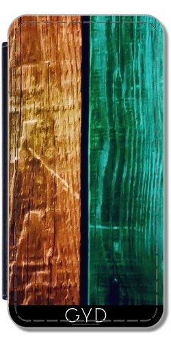 Leder Flip Case Tasche Hülle für Apple iPhone 5/5S - Abstrakte Bunte Holz by WonderfulDreamPicture Lederoptik