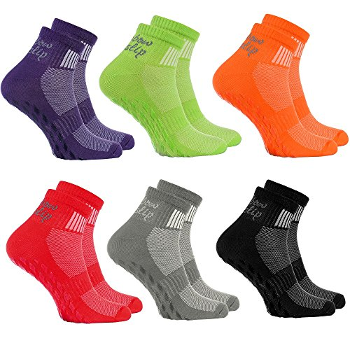 Rainbow Socks - Donna Uomo Sportive Calze Antiscivolo ABS di Cotone - 6 Paia - Porpora Negro Verde Grigio Rojo Naranja - Tamaño UE 44-46
