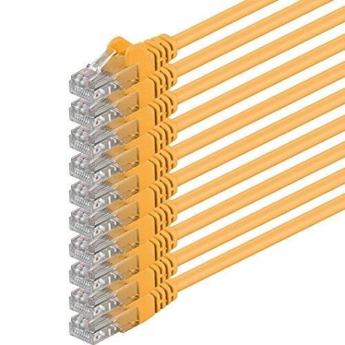 1aTTack.de Netzwerkkabel Cat.6 - gelb - 10x - 0,5m - (Set) - CAT6 Ethernetkabel Lankabel 1000 Mbits (PoE) Patchkabel
