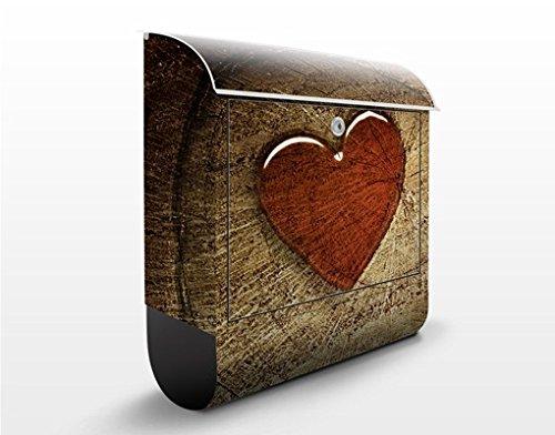 Design Briefkasten Natural Love | Herz Wald Baum Stein Liebe, Postkasten mit Zeitungsrolle, Wandbriefkasten, Mailbox, Letterbox, Briefkastenanlage, Dekorfolie