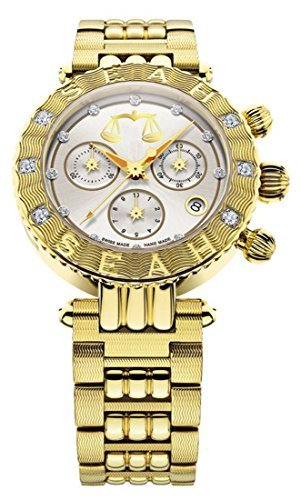 Seah Galaxy Zodiac Sign Libra, Unisex Limited Edition, 38mm Yellow Gold, Swiss Made Luxury Diamond Watch