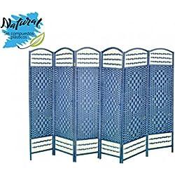 Biombo azul plegable seis puertas Madera Natural para dormitorio/salón. Edición Natur 170 X 240 Cm - Hogar y más