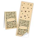 25 Aufkleber Aufkleber Frohe Weihnachten Weihnachtsaufkleber verschiedene Sprachen 5 x 14,8 cm rot beige natur - Etiketten Geschenkaufkleber zum Verschließen von Papiertüten Geschenk Verpackung