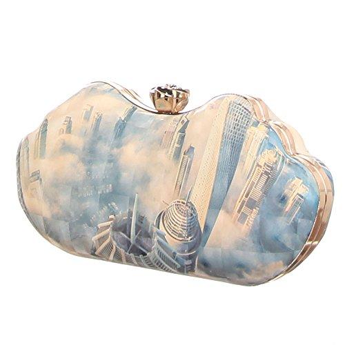 iTal-dEsiGn Damentasche Kleine Clutch Abendtasche Synthetik TA-3260-9 Hellblau