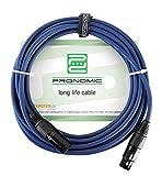Pronomic Stage DMX3-15 DMX-Kabel 15 Meter (zur Verkabelung von Lichteffekten, Goldkontakte, Mantelfarbe: Blau, XLR Male zu XLR Female)