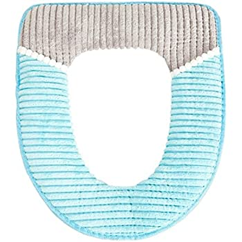 CTGVH 1PCS Closestool Washable Soft Warmer Cushion,Bathroom Toilet Seat Cover Navy + white