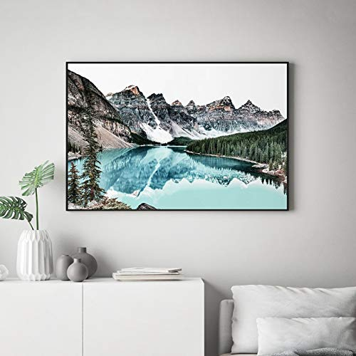 Mountain landscape print teal nordic wall art canvas painting water reflection nature photography wall picture home decor 30x45cm no frame