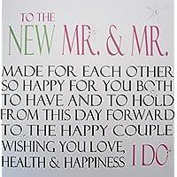 """White Cotton Cards Code N51A """"A la nueva Mr & Mr decorada a mano Gay tarjeta de boda"""