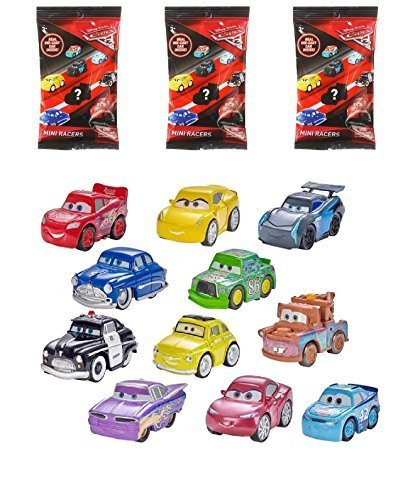 Set of 3: Disney Pixar Cars 3 - MINI RACERS Blind Bags - Real Die-Cast, Awesome Pocket-Sized Version, Featuring Characters from all three Disney Pixar Cars Movies