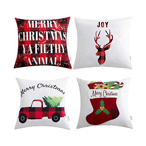 PIONIN 4 STÜCKE Weihnachtskissenbezug,Weihnachten Bequeme Sofa Festival Polyester Pfirsichhaut Kissenbezug Kissenbezug