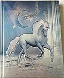"""Taccuino / Diario Unicorno con lettering """"Magic"""", colore blu metallico e argento, con una nobiltà goffrata (3D) - edizione limitata!"""