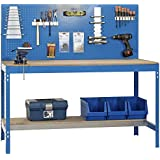 Werkbank BT-2 900 Blau / Holz, Maße: 144 x 90 x 60 cm (H x B x T), Traglast: 400 kg mit Lochwand