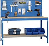 Werkbank BT-2 900 Blau/Holz, Maße: 144 x 90 x 60 cm (H x B x T), Traglast: 400 kg mit Lochwand