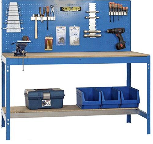Werkbank BT-2 900 Blau / Holz, Maße: 144 x 90 x 60 cm (H x B x T), Traglast: 400 k...