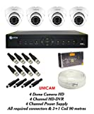 Unicam CCTV Combo - 4 Dome Cameras + 1 DVR with Mouse & Remote+ 4 CHANNEL POWER SUPPLY + 90 METRES 3+1 WIRE COIL + All Required Connectors