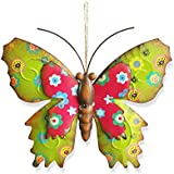 Decorative Multi-colored Metal Butterfly Garden Wall Art 24CM * 21CM with Double-layer Swings and Hanging Rope