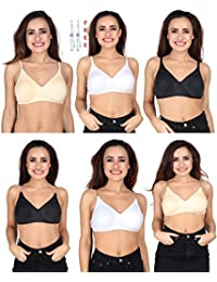 a2c74aecaa IPP Women s Cotton Seamless Full Cup Bra with Full Coverage with Detachable  Straps - Combo of