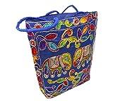 India colors. Hindu-Design-Tasche. Reisetasche, Aktentasche, Strandtasche oder PC- oder Tablet-Tasche. Handwerklich Handgefertigt in Indien. Stoffe mit Intarsien bestickt. Erste Qualitä (Marineblau)