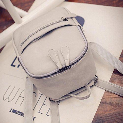 lo zaino , feiXIANG 2017 Donne ragazza zaino spalla Bookbags scuola borsa zaino viaggio in pelle (blu) grigio