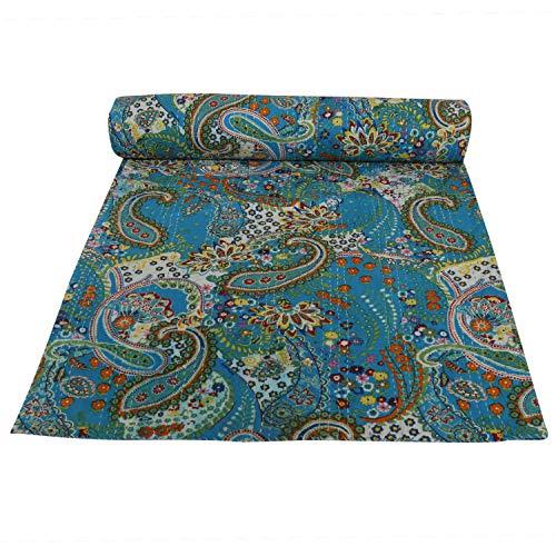 Janki Creation Paisley gedruckt Kantha Quilt, Twin Größe Kantha Betten, indische Baumwolle Tagesdecke, Bohemian Kantha Werfen, Floral Bett Cover 152,4x 228,6cm -