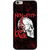 Fancy A Snuggle Grunge Cult Fun Tête de Mort Art Hipster Musique téléphone Housse/Coque Rigide pour Apple téléphone Portable, Polycarbonate, Non Stop Music Headphone Skull, Apple iPhone 6 / 6s