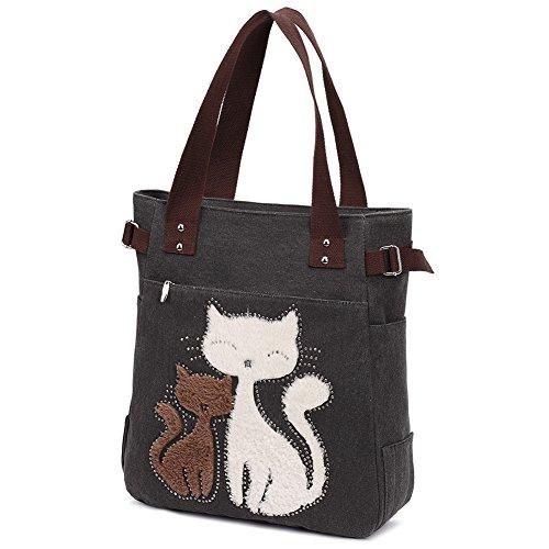 KAUKKO Damen Fashion Vintage Leinwand Cute Cat Design Handtasche Frauen Casual vereinfacht Stil Tote Elegante Tagesrucksack Schule Tasche Shopper Tasche für Teenager Mädchen Schwarz