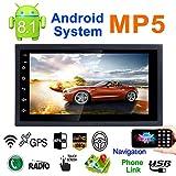 7 '' 2DIN Android 8.1 Coche Reproductor multimedia GPS Navigator Volante Control FM/AM Radio WIFI Bluetooth Manos libres Llamadas Dual USB Carga rápida 1080P Vista posterior Cámara Espejo Enlace