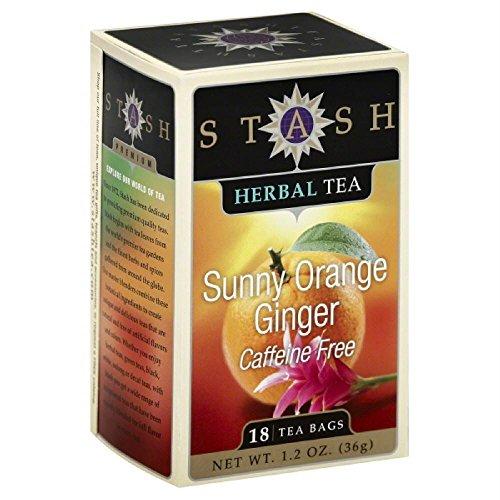 Stash Tea – Erstklassiger koffeinfreier sonniger orange Ingwer-Tee – 18 Teebeutel