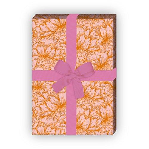 Set 4 Bogen: Florales Geschenkpapier, Dekorpapier, Papier zum Einpacken mit üppigen Hibiskus Blüten, orange, für tolle Geschenk Verpackung und Überraschungen 32 x 48cm