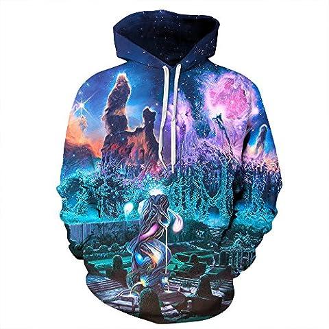 AMOMA Unisex Realistic 3d Digital Print Pullover Hoodie Hooded Sweatshirt (Small/Medium, Garden)