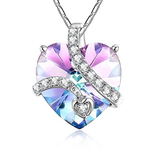 ADAN-BANFI-Schmuck-Halskette-fr-Frauen-Messing-feinem-Halskette-mit-sterreichischen-Kristall-elegantes-lila-Farbverlauf-in-Herzform-Anhnger-verstellbar-chains-add-Eleganz-zu-Ausschnitt