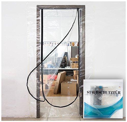 Profi Staubschutztür mit Reißverschluß - transparente Schmutzschleuse ideal für Renovierungsarbeiten, wiederverwendbar