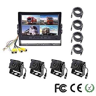 Z-DCYX Caméra de Recul Kit d'Aide au Stationnement 7 Pouces HD12V-24V 7 Pouces 4 écran d'affichage à Cristaux liquides de Quadruple divisé d'écran d'affichage de Couleur de Vue arrière 18 IR LED