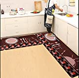 sheng Indeedshare Kitchen Rugs Rubber Backing Decorative Non-Slip Doormat Runner Area Entrance Mats Sets 2 Pieces ( Color : 1 , Size : 50*80+50*180cm )
