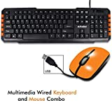 PRODOT TRC-107+273 USB Multimedia Wired Keyboard And Mouse Combo Compact And Portable For Pc, Laptop, Desktop, Android TV And Smart TV (Orange)