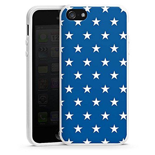Apple iPhone 5s Housse Étui Protection Coque Étoiles Marine Bleu Housse en silicone blanc