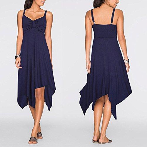 Damen Einfarbig Abendkleider Lange Chiffon Unregelmäßige Saum Prom Dress Marine