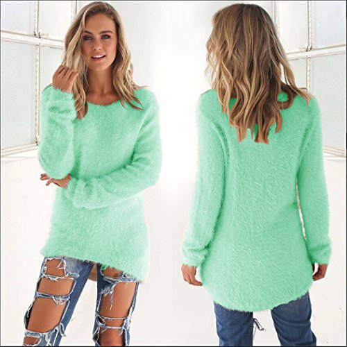 Fami Knitwear les Femmes DHiver Casual Solides Manches Longues Pull Pull, Élégant Warmer Blouse Vert