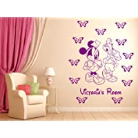 Minnie Mouse and Daisy duck personalised wall sticker nurser wall decal wall art.