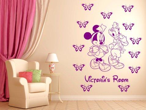 wall-decor Minnie Maus und Daisy Duck personalisierbar Wandtattoo, Wand Aufkleber Wand Kunst. violett