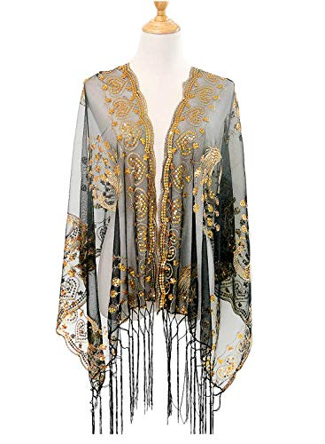 L'vow 1920s Retro Damen Pailletten Schal Umschlagtücher Stola für Abendkleid Hochzeit Party Braut Schal Gatsby Kostüm Accessoires (Gold und Schwarz) (Roaring 20's Kostüm Frauen)