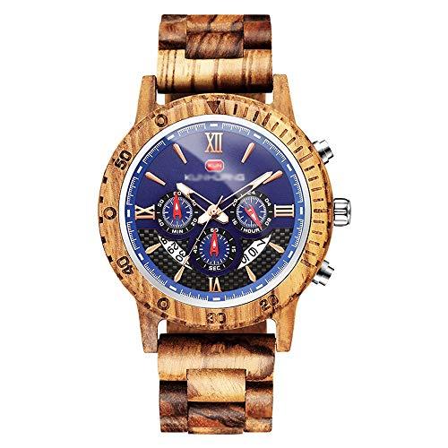 BOHENG Uhr-Sport-Multifunktionssandelholz-Uhr Uhr Europa und Amerika-Männer (Color : Zebra) - Rotbraun Walnuss