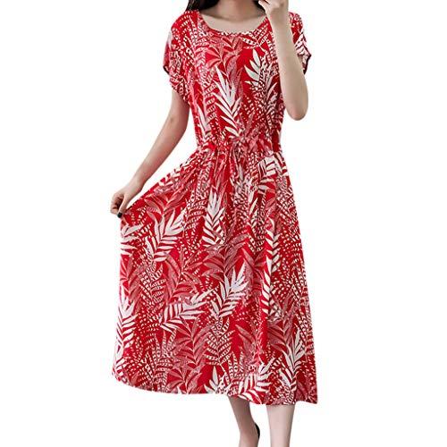 Yazidan Damen Böhmischer Strand ohne Ärmel Cocktailkleider Rückenfrei Partykleid Ärmellos Pencil Sommerkleid Blumen Drucken Strandkleid Maxikleid Mädchen Rundhals Kleider Frauen Kleid Kleidung